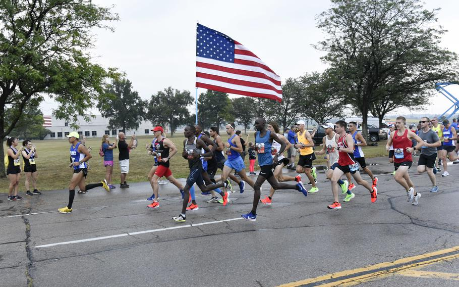 Runners participate in the 2019 Air Force Marathon at Wright-Patterson Air Force Base, Ohio, Sept. 21, 2019. More than 12,700 runners and 2,600 volunteers from all 50 states and 15 different countries came out to run in the races 23rd year.