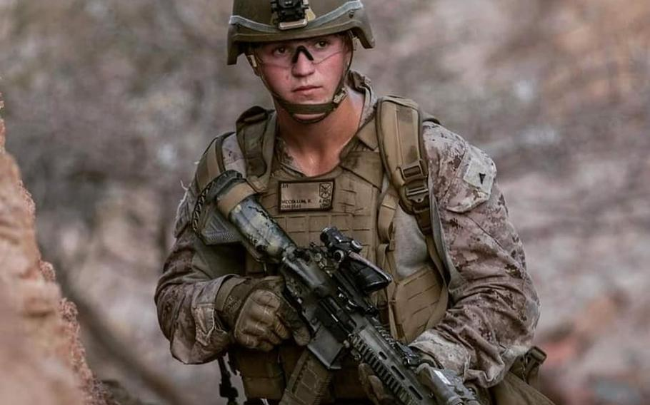 Lance Cpl. Rylee McCollum, 20, shown here in an undated photo shared to social media, was recently married. His wife is expecting a baby in three weeks, according to family members.