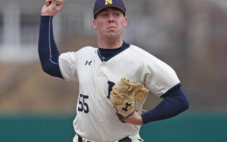 Navy baseball pitcher Charlie Connolly, pictured during the 2021 season, was taken by the Los Angeles Dodgers with the final pick of the MLB draft on Tuesday.