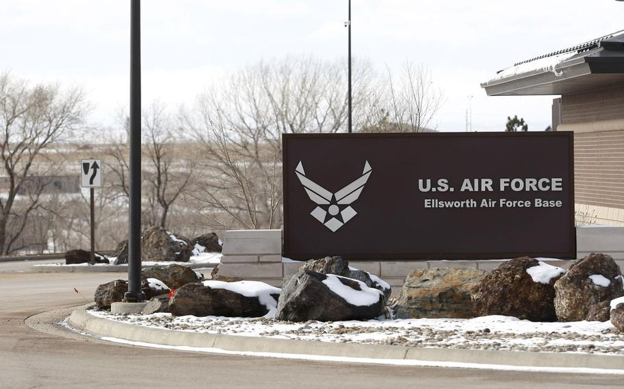 The entrance to Ellsworth Air Force Base, S.D., is shown in this undated file photo.