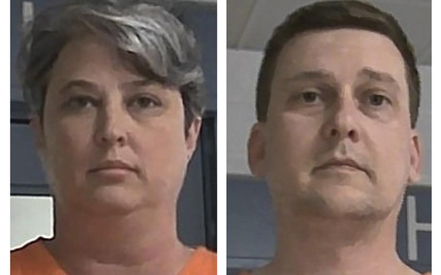 These booking photos released Oct. 9, 2021, by the West Virginia Regional Jail and Correctional Facility Authority show Jonathan Toebbe and his wife, Diana Toebbe.