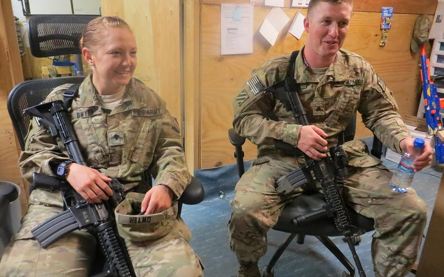 Married couple Spc. Amanda Dwyer and Sgt. Jonathan Dwyer, with the Special Troops Battalion, 4th Brigade Combat Team, spent more than half their 12 months together at Forward Operating Base Shank in eastern Afghanistan in 2013.