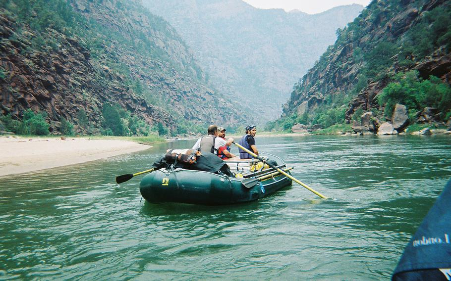 U.S. military veterans enjoy rafting on the Yampa River in Colorado.