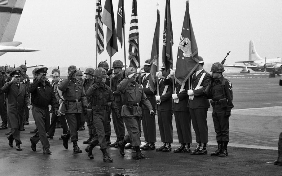 Ceremony for the arrival of the Reforger I advance party at Rhein-Main Air Base, Germany, Jan. 6, 1969.