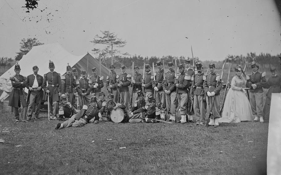 The 22nd New York Infantry near Harpers Ferry in what was then Virginia, circa 1860-1865.
