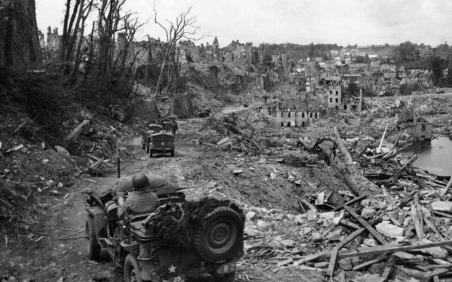 The French town of Saint-Lo is left in rubble and ruin following some of the bitterest fighting in World War II. The town was 95% destroyed before it was captured from Germans on July 18, 1944. The victories in Normandy and Northern France paved the way for the Allies triumphant entry into Paris in August 1944.
