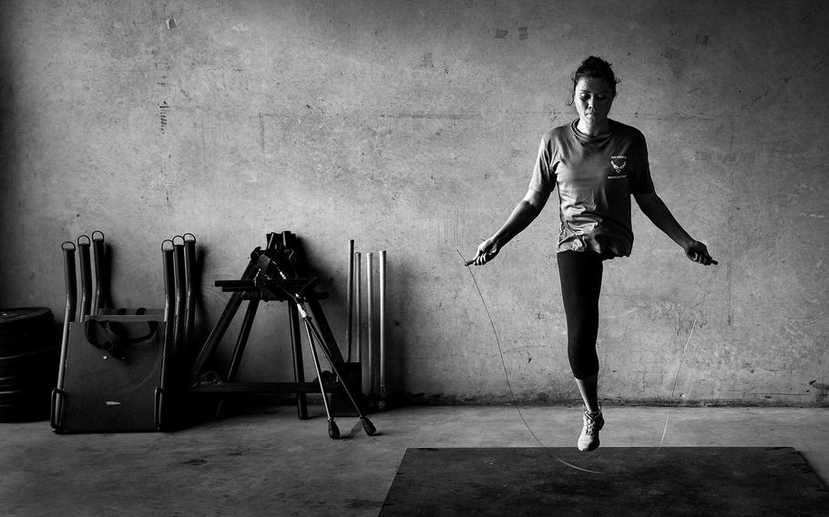 SPORTS, 1ST PLACE | U.S. Air Force wounded warrior, Capt. Sarah Evans, jumps rope in a gym in San Antonio, Texas. Evans was diagnosed with cancer while deployed to Afghanistan and was medically evacuated back to the United States where her leg was amputated.
