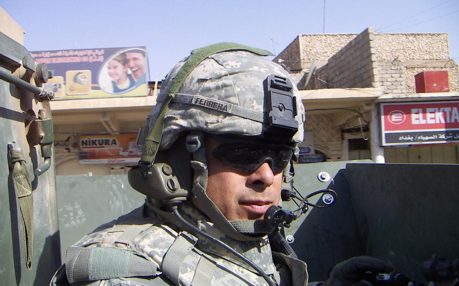 Then-1st Sgt. Viriato Ferreraramos, 1st sergeant for Company C, 2nd Battalion, 3rd Infantry Regiment, 2nd Infantry Division poses for a photograph while forward deployed to Iraq, Aug. 2006.
