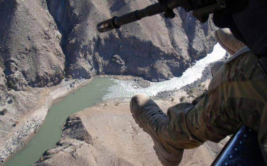 This is the type of terrain pararescuemen faced in November 2010 during Operation Bulldog Bite in Waterpur Valley, Afghanistan, as photographed from the PJ's helicopter.