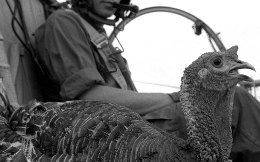 Thanksgiving dinner gets a helicopter ride to a U.S. base in South Vietnam in 1967.