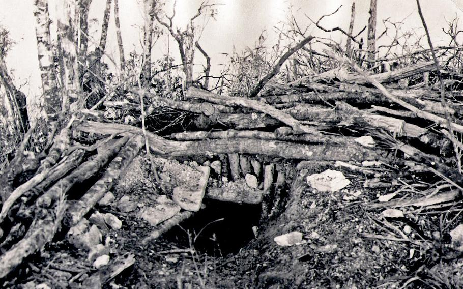 """As described by Rodman Germain: """"Enemy bunker after being hit with Daisy Cutters on Co Pong Mountain, Asauh Valley, 1970-71. Making an LZ on that mountain took forever!"""""""