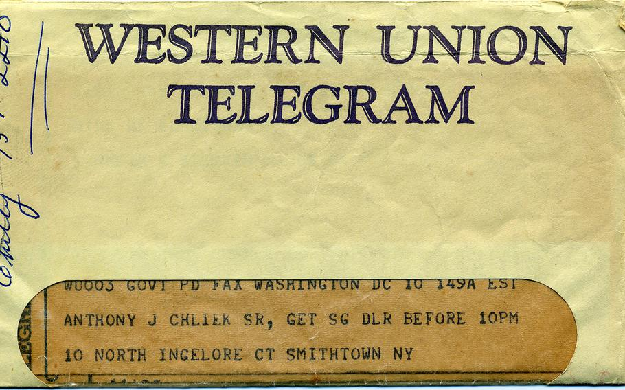 The Western Union telegram Tony Chliek's parents received with news of their son's injury in battle.