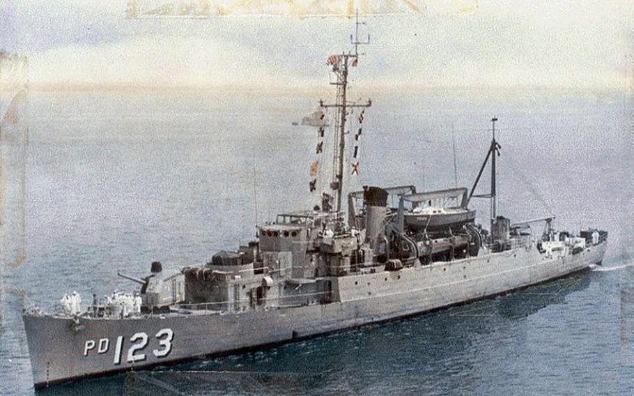 USS Diachenko (APD-123) underway, location unknown, circa 1966-67.