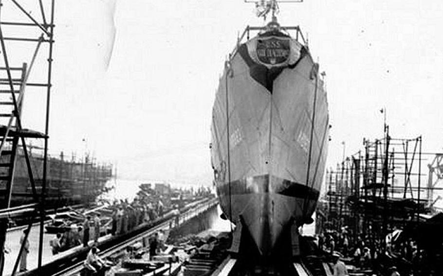 USS Diachenko (APD-123) sliding down the builders way after being Christened by Miss Mary Diachenko at Bethlehem Steel Co. Quincy, Mass., on Aug. 15, 1944.