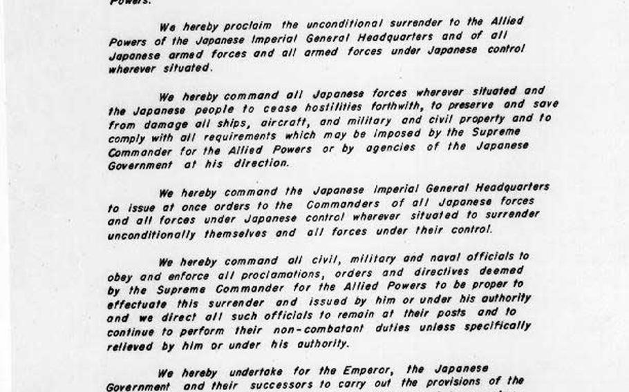 On Sept. 2, 1945, the Japanese representatives signed the official Instrument of Surrender, prepared by the War Department and approved by President Harry S. Truman.