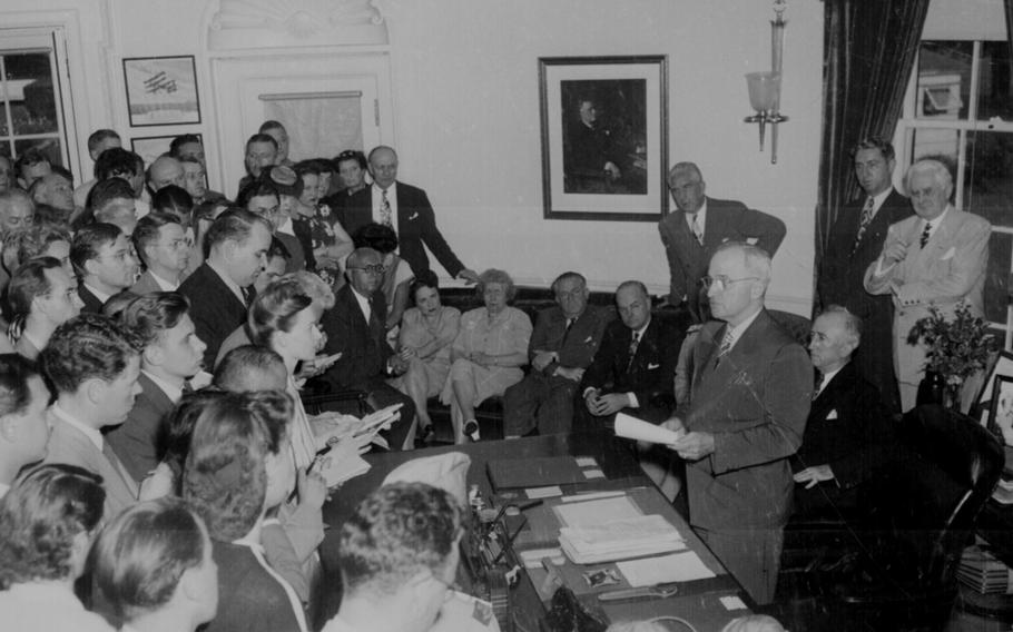 President Harry S. Truman announces Japan's surrender on Aug. 14, 1945, a little more than a week after an atomic bomb was dropped on Hiroshima.