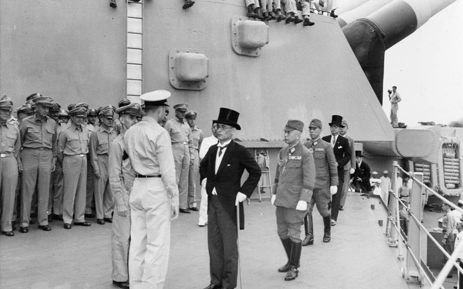 The ceremony for signing of Japanese surrender document was held aboard the battleship USS Missouri on Sept. 2, 1945, in Tokyo Bay, Japan.
