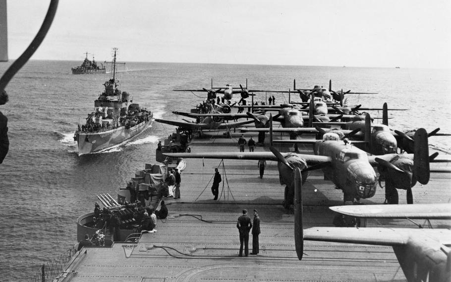 On April 18, 1942, U.S. Army Air Forces, led by Lt. Col. James H. Doolittle, carried out a surprising and daring raid on military targets at Tokyo, Yokohama, Yokosuka, Nagoya, and Kobe.