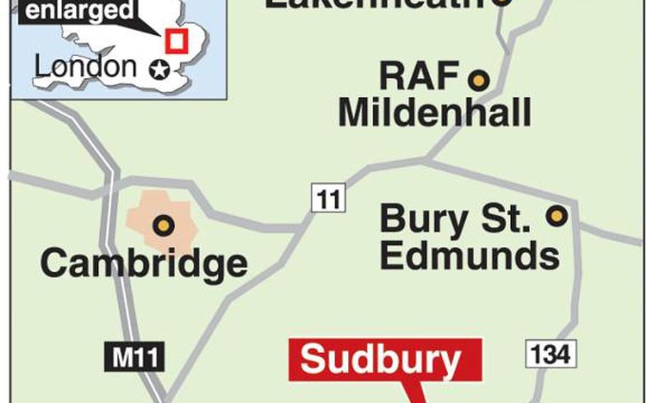 map of Sudbury, England
