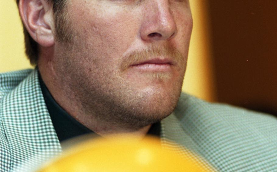 Green Bay Packers quarterback Brett Favre, at an April, 1998 Tokyo press conference to promote the American Bowl.
