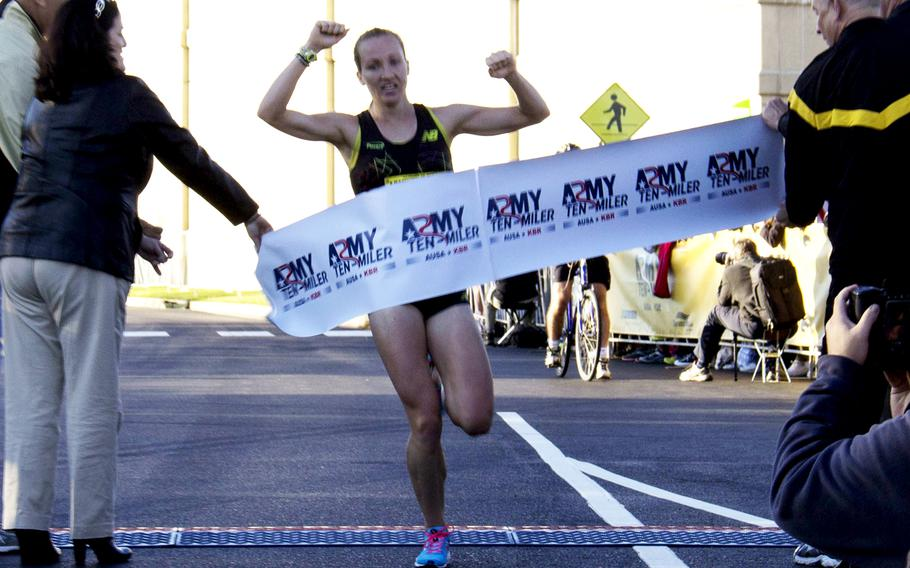 Kerri Gallagher is the first woman to finish the 2013 Army 10-Miler with a time of 54:56 on Oct. 20, 2013. Gallagher also placed first in the women's division in 2012.