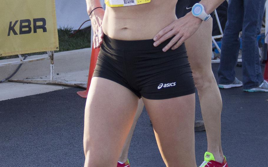 Julie Culley, from Arlington, Va., took third place in the women's division at the 29th Army 10-Miler on October 20, 2013.
