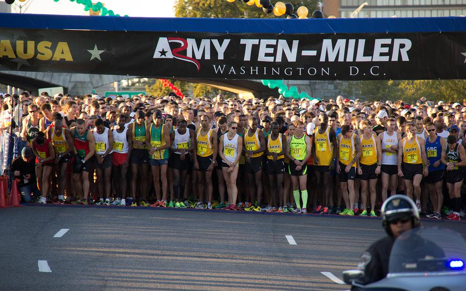 Runners get ready to go at the 29th annual Army 10-Miler race, October 20, 2013.