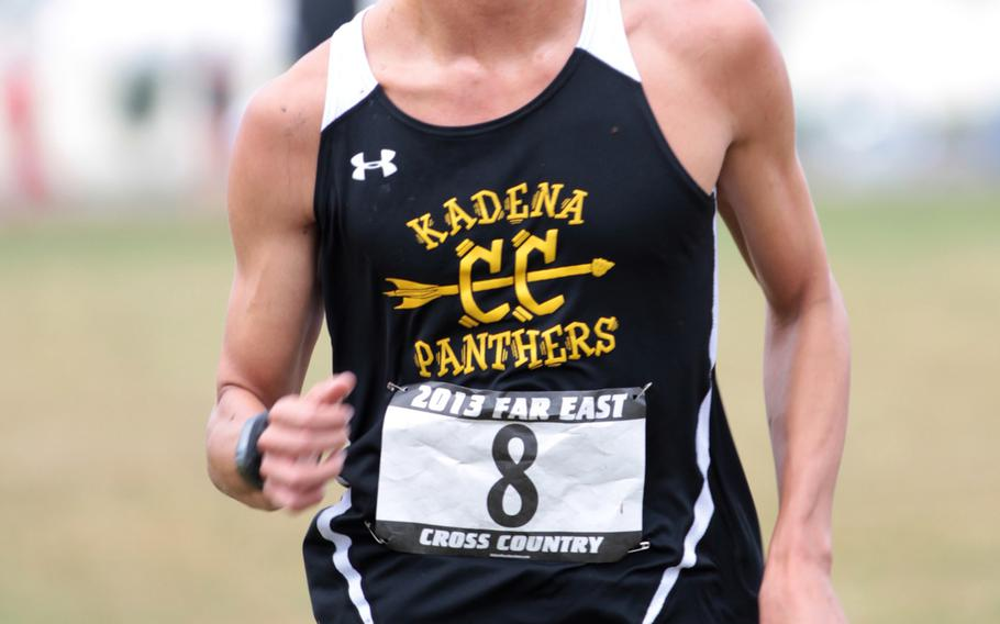 Kadena's Andrew Kilkenny crosses the finish line during Monday's 3.1-mile individual boys race in the Far East High School Cross-Country Meet at Camp Fuji, Japan. Hernandez repeated his boys championship, running 17 minutes, 21.6 seconds.