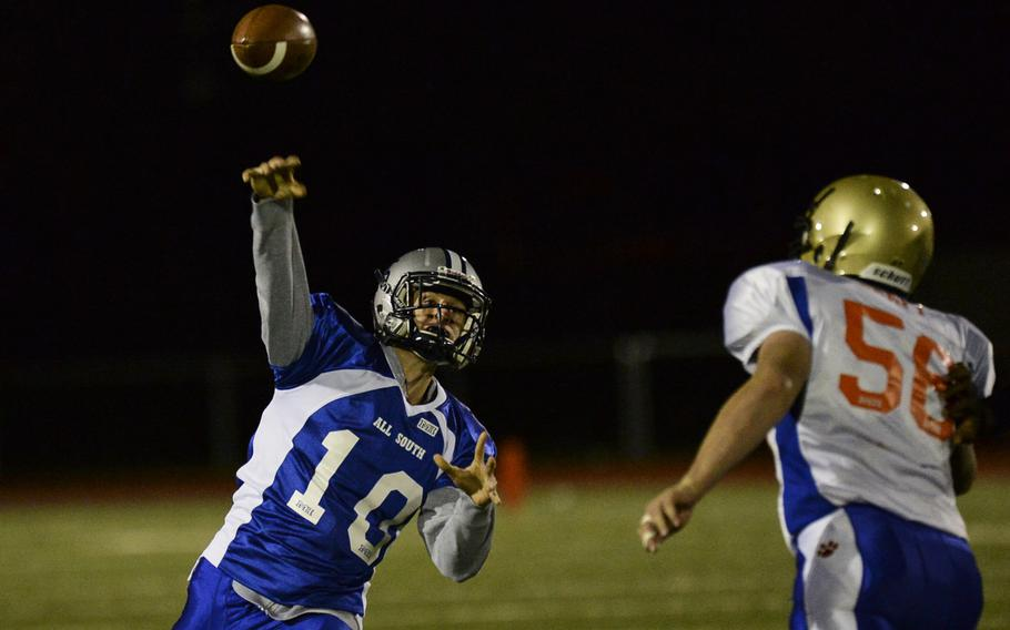 South squad's Tom Clancy throws a pass Saturday night in the DODDS-Europe high school football all-star game in Wiesbaden, Germany.