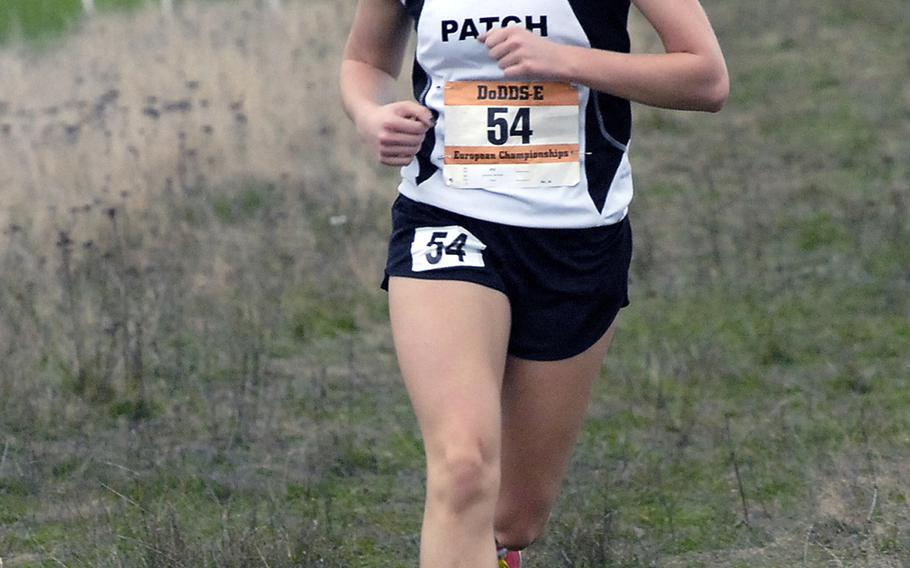 Patch senior Baileigh Sessions was out front by herself for most of the girls' race at the DODDS-Europe cross-country championships in Baumholder, Germany, Oct. 26, 2013. Sessions won her third consecutive individual title.