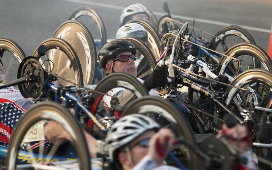 Army Ten-Miler hand cyclists start their trek towards the finish line, October 12, 2014.