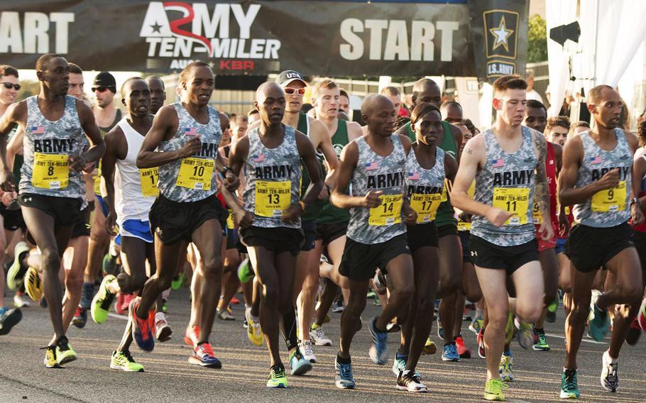 Army Ten-Miler racers start their trek towards the finish line, October 12, 2014.