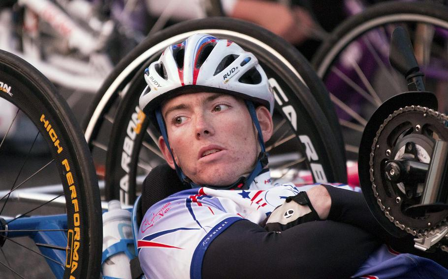 A hand cyclist waits for the start of the Army Ten-Miler, October 12, 2014.  Rick Vasquez/Stars and Stripes