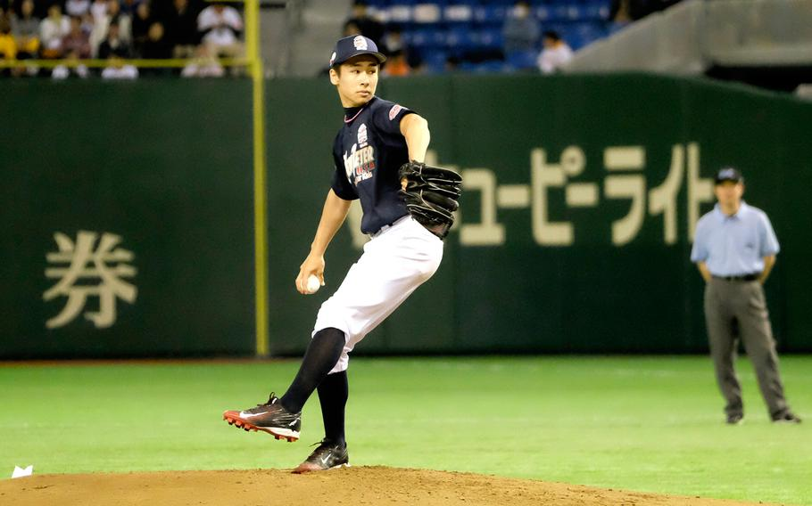 Kacey Walker of Nile C. Kinnick High School in Yokosuka was the starting pitcher for Team Jeter during the '2 with 55 Tomodachi Game' at the Tokyo Dome Saturday, March 21, 2015. The 3-inning charity game raised funds for victims of the 2011 earthquake and tsunami in northern Japan.