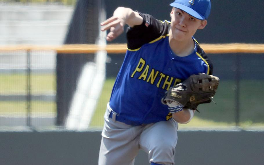 Yokota's Troy Barnes delivers against Osan during Monday's double-elimination playoff game in the Far East Division II baseball tournament. Barnes threw a no-hitter and the Panthers blanked the Cougars 11-0.