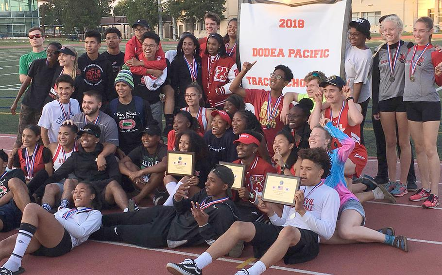For the fourth straight year, Nile C. Kinnick's track and field team takes home the Far East Division I banner.