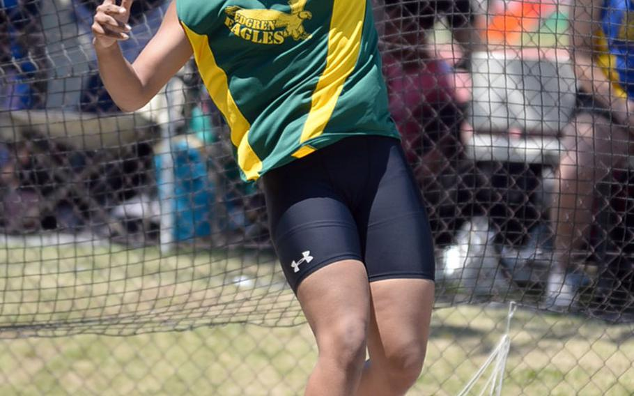 Robert D. Edgren's Trinity Fiers adds the Far East meet record to the mark she already holds for the northwestern Pacific in the discus.