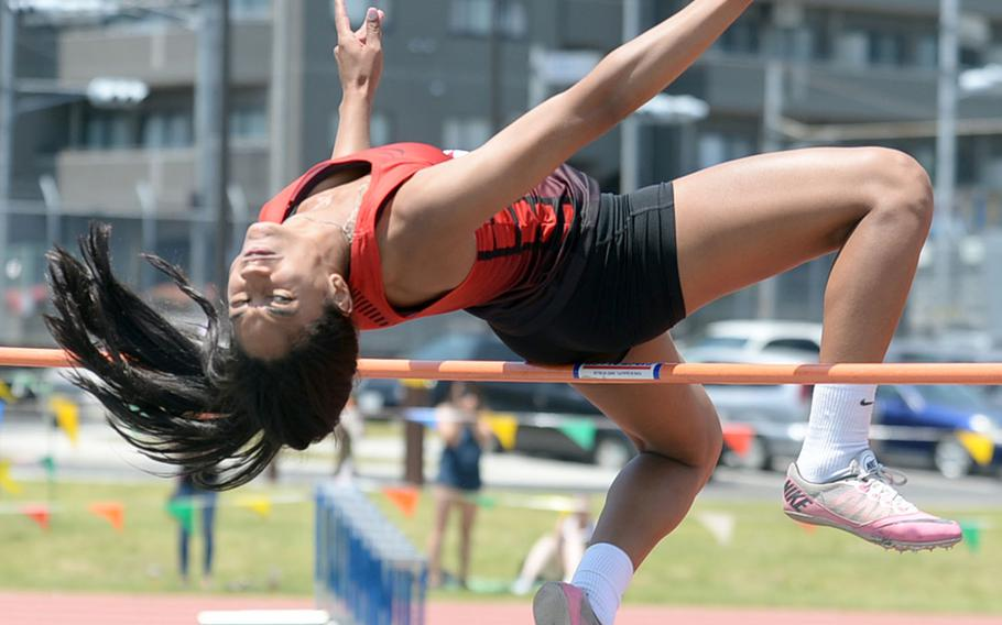 Nile C. Kinnick senior Exotica Hall matched her Far East meet record of 1.65 meters in the high jump, but missed three times at 1.68.