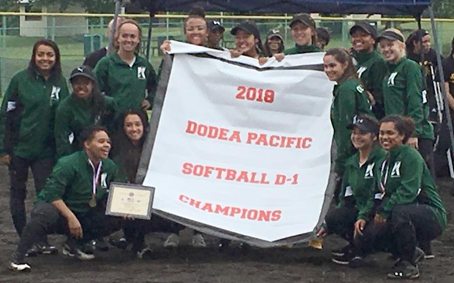 Kubasaki gathers around the banner emblematic of the Dragons' first Far East Division I Tournament title.