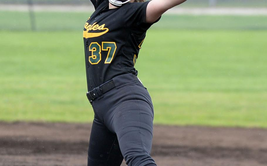 Robert D. Edgren senior right-hander and Far East Division II Softball Tournament MVP Brittany Crown kicks and delivers as the Eagles beat Daegu 5-2 in the tournament final.
