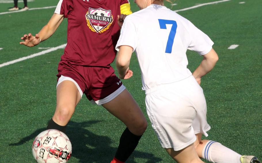 Micayla Feltner, a former two-time All-Europe player, left, with ball, led Matthew C. Perry with 37 goals and was instrumental in the team's second-half of the season turnaround.