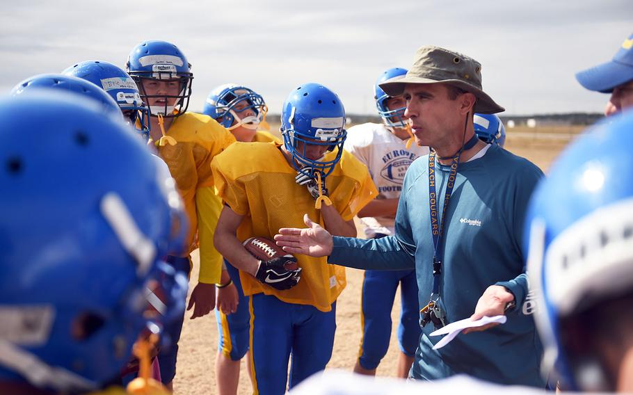 Ansbach coach Stephan Chote talks to his team during practice, Monday, August 27, 2018.