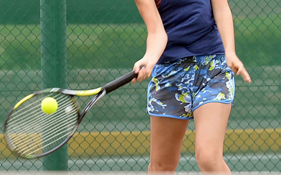 Senior Tamaki Farman is one of three returners for Nile C. Kinnick's girls tennis team.