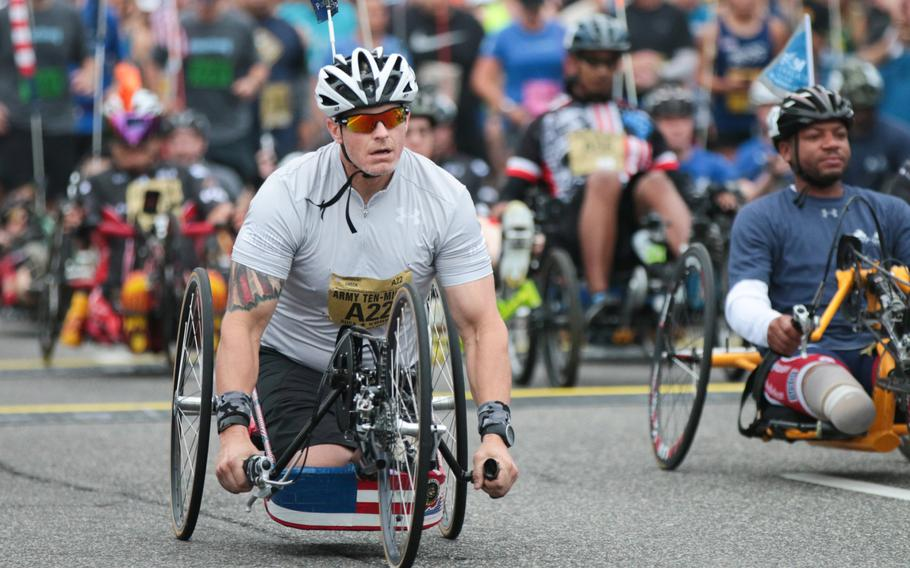 Brant Ireland was the first handcyclist to cross the finish line at the finish line of the 2018 Army Ten-Miler held in Washington, D.C., on Sunday, Oct. 7, 2018.