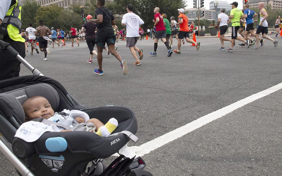 A very young spectator at the Army Ten-Miler in Washington, D.C., Oct. 7, 2018.