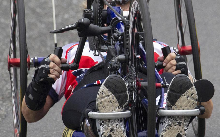 Dianne Leigh Summer of Newton Grove, N.C., was the second female finisher in the handcycle category at the Army Ten-Miler in Washington, D.C., Oct. 7, 2018.