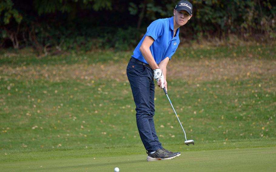 Wiesbaden's Bryan Cortese follows his putt during the final round of the DODEA-Europe golf championships at Rheinblick Golf Course in Wiesbaden, Germany, Thursday, Oct. 11, 2018. Cortese captured the European crown with a Stableford 90 over the two days of competition.