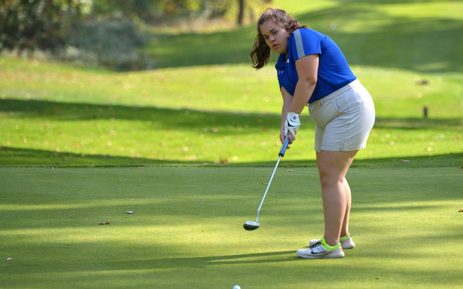 Ramstein's Lauren Sutherland watches her putt during the final round of the DODEA-Europe golf championships at Rheinblick Golf Course in Wiesbaden, Germany, Thursday, Oct. 11, 2018. She finished second with a 58.
