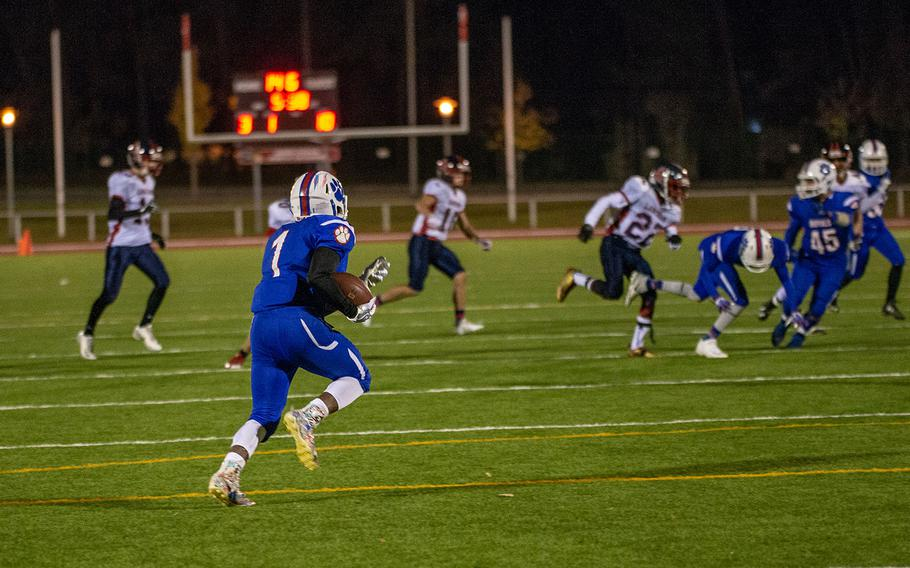 Dominque Arizpe of Ramstein runs for a 95-yard kick off return for a touchdown during the DODEA-Europe Division I football championship game between the Ramstein Royals and the Lakenheath Lancers, Saturday, Nov. 3, 2018.
