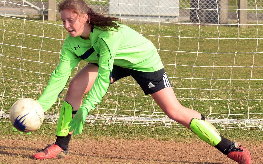 Sophomore Abigail Irwin is one of two players vying for Kubasaki's girls soccer team's goalkeeping job.